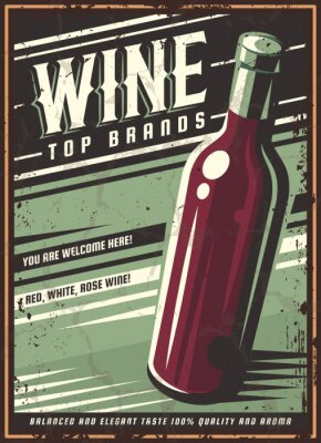 Poster Vintage poster of a bottle of wine. Overlay vector texture. Minimalism old banner, vector image.