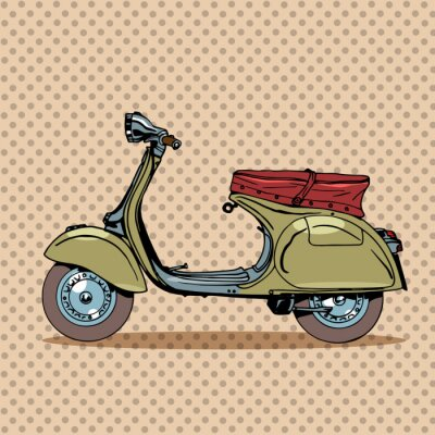Poster Vintage retro scooter de transporte