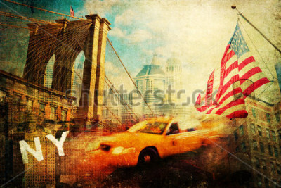 Poster vintage style collage of New York city symbols