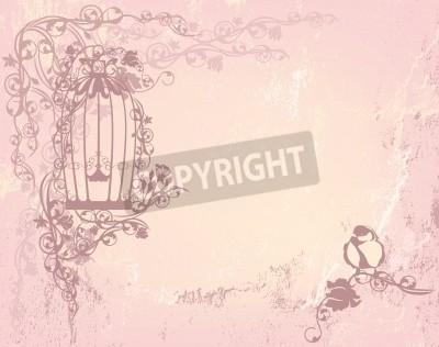 Poster vintagerosegarden com gaiola aberta e pássaro - chique conceito da liberdade de fundo com lugar para seu texto