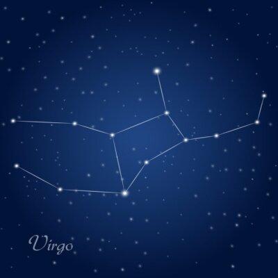 Poster Virgo o sinal da constelação do zodíaco no céu nocturno estrelado