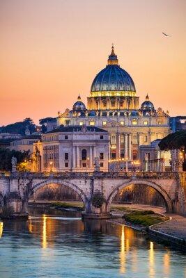 Poster Visão noturna da Basílica de São Pedro, em Roma, Itália