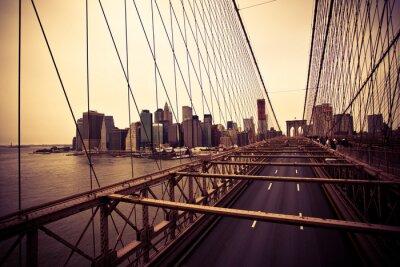 Poster Vista do distrito financeiro a partir da ponte de Brooklyn