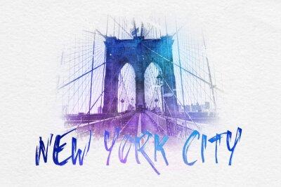 Poster Vista frontal da ponte de Brooklyn com texto de NYC