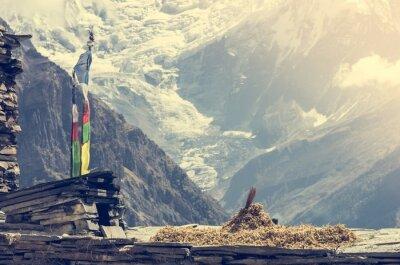 Poster Vista para a montanha, Annapurnas no Nepal.