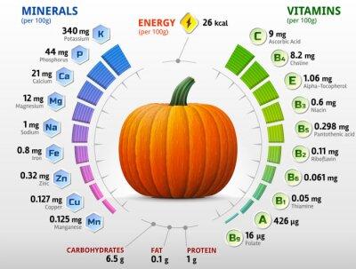 Poster Vitaminas e minerais de abóbora. Nutrientes abóbora
