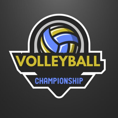 Poster Vôlei esportes logotipo, rótulo, emblema.