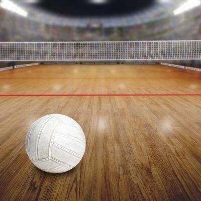 Poster Voleibol, corte, bola, madeira, chão, cópia, espaço