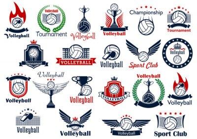 Poster Voleibol jogo ícones e símbolos