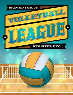 Poster Volleyball League Flyer Ilustração