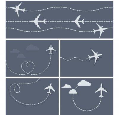 Poster Vôo de avião - traço pontilhado do avião, em forma de coração e eis