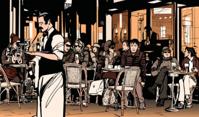 Poster Waiter serving customers at traditional outdoor Parisian cafe