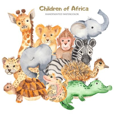 Poster Watercolor card with cute characters of African animals. Template for invitation, greeting card, party, baby shower, children's clothing and design.