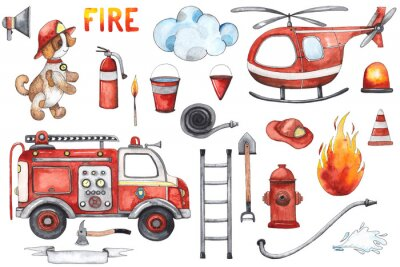 Poster Watercolor cartoon cute set Firefighting and fire safety equipment illustration. Fire truck, helicopter, dog, helmet, hose, column, fire extinguisher. Baby shower red colorful clip art