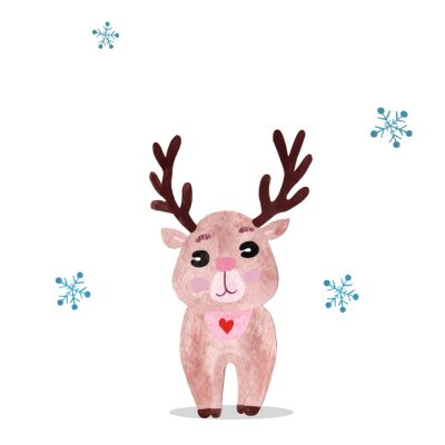 Poster Watercolor christmas illustration with holiday deer