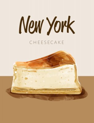 Poster Watercolor paining in retro style of new york cheesecake.  Design for printing, postcard, menu, and others. Vector illustration.