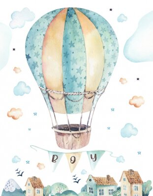 Poster Watercolor set background illustration of a cute cartoon and fancy sky scene complete with airplanes, helicopters, plane and balloons, clouds. Boy seamless pattern. It's a baby shower design