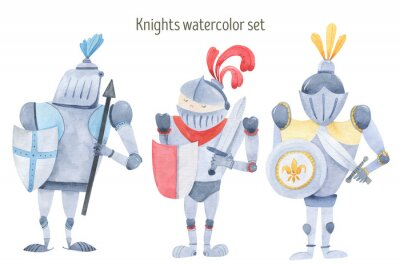 Poster Watercolor set of knights swords, shields, armor