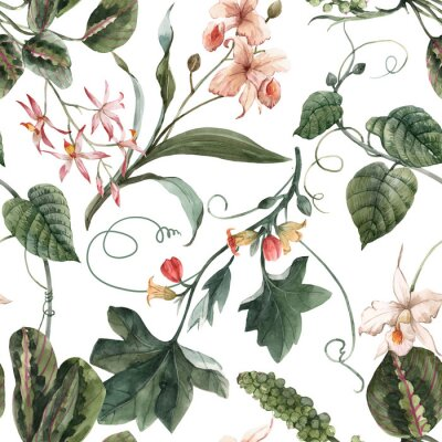 Poster Watercolor tropical seamless pattern