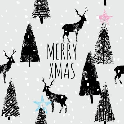 Poster winter forest hand drawn trendy pattern