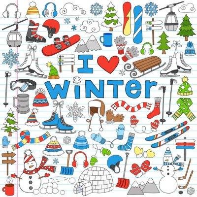 Poster Winter Fun Voltar para Notebook Escola Doodles-Ilustração