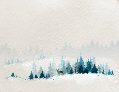 Poster winter landscape with fir forests and deer