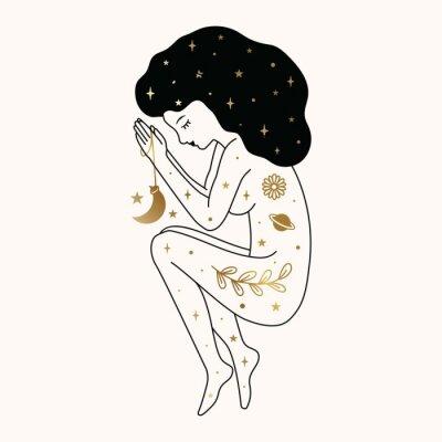 Poster Woman Praying Illustration Design in Vector.
