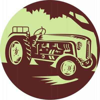 Poster Woodcut do círculo do trator de fazenda do vintage