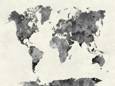 Poster World map in watercolor gray