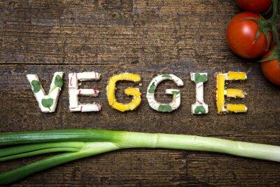 Poster Wort Veggie aus verschieden belegten Produtos / serviços Palavras-chave: Broten mit Tomaten und Frü