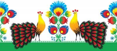 Poster wzór Ludowy kwiatami z i pawiem, Łowicki