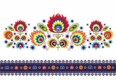 Poster Wzór Ludowy z kwiatami