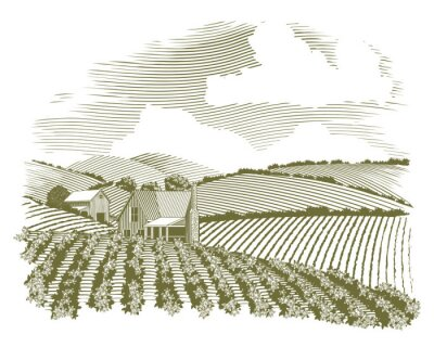 Poster Xilogravura Rural Farmhouse