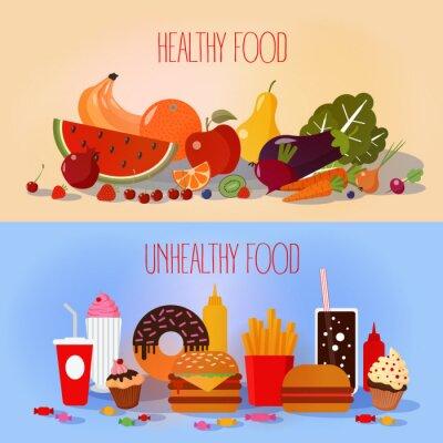Poster Alimentos saudáveis e Fast Food insalubre