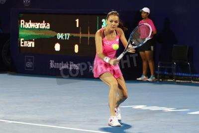Poster Hua Hin, Tailândia - 1 de janeiro de 2016: Agnieszka Radwanska ocupa a 5ª posição no mundo. Campeonato Mundial de Tênis de Tênis 2016 no True Arena Hua Hin clube desportivo, Prachuap Khiri Khan.