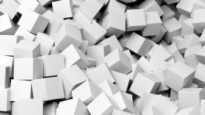 Quadro 3D, branca, cubos, pilha, abstratos, fundo