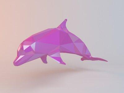 Quadro 3D cor-de-rosa baixo poly (golfinho) dentro de um estágio branco com alto rendem a qualidade para ser usado como um logotipo, uma medalha, um símbolo, uma forma, um emblema, um ícone, uma história das