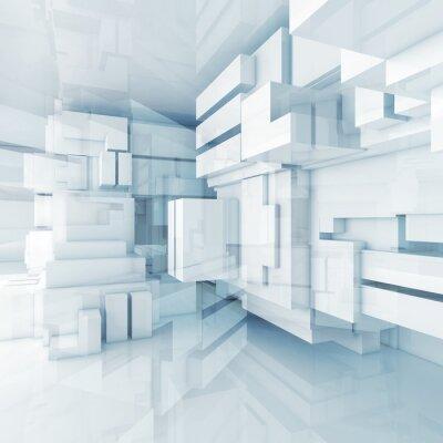 Quadro 3d fundo azul alta tecnologia com cubos caóticas