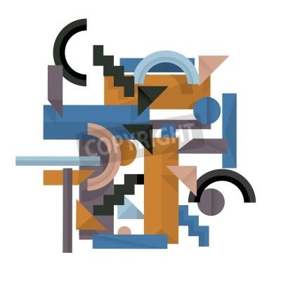 Quadro 3d fundo geométrico no estilo cubismo