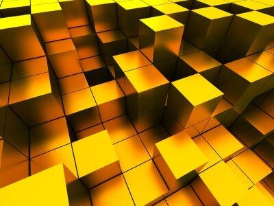 Quadro 3d ilustração de cubos de ouro