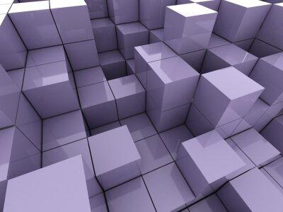 Quadro 3d ilustração de cubos violeta