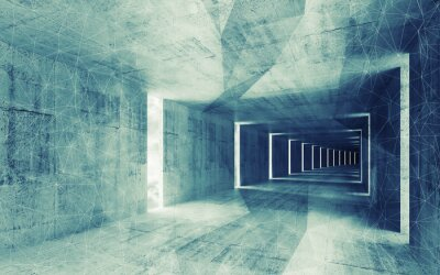 Quadro 3d render, green blue toned abstract empty concrete interior bac