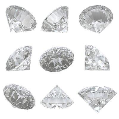 Quadro 9 diamantes criados em fundo branco - trajeto de grampeamento