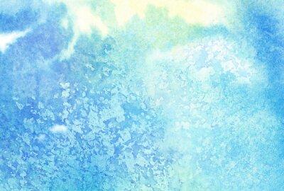 Quadro A aguarela pintada azul abstrata da luz espirra ou nuvem, céu
