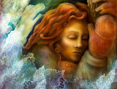 Quadro A cabeça de uma mulher de fadas sonhando com cabelo vermelho e glowes inverno