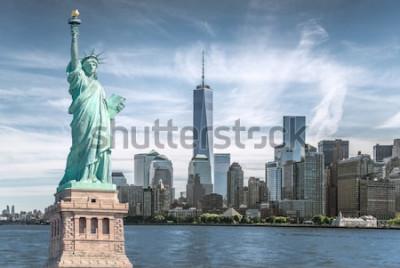 Quadro A estátua da liberdade com fundo do World Trade Center, Marcos da cidade de Nova York