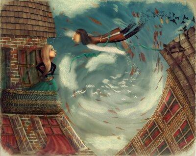 Quadro A ilustração mostra um homem no sky.He cresce em um pássaro. Uma menina está em um balcão e olha no céu