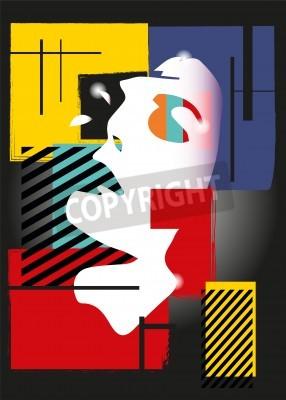 Quadro A menina no estilo de um cubism. Quadrados, tintas, fundo preto
