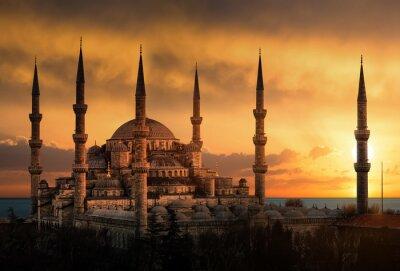 Quadro A Mesquita Azul em Istambul durante o por do sol