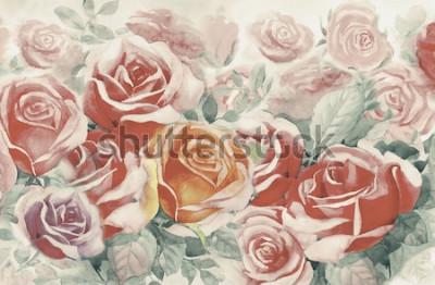 Quadro A mola pintada ilustração floresce o grupo colorido das rosas no jardim e a emoção no vintage realístico com fundo azul abstrato, pintura original da paisagem da aquarela, para cartões.